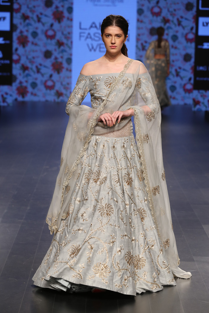 PAYAL SINGHAL Powder Blue Off Shoulder Blouse with Steel Color Lehenga and Embroidered Dupatta