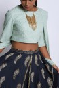 Payal Singhal Indian Wear Collection : MINT AND NAVY IRMA SET