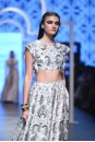 Payal Singhal Off The Runway Collection : RABIYA JANNAT PRINT CROP CHOLI AND HIGH LOW LEHENGA
