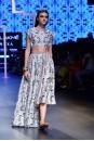 Payal Singhal Off The Runway Collection : RABIYA JANNAT PRINT CROP CHOLI AND HIGH LOW LEHENGA