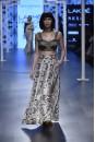 Payal Singhal Off The Runway Collection : SABHA BLACK BUSTIER AND JANNAT PRINT LEHENGA LOW CROTCH PANTS