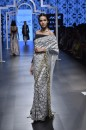 Payal Singhal Off The Runway Collection : PINAR OGEE PRINT EMBROIDERED SAREE AND LYCRA OFF SHOULDER CHOLI
