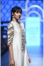 Payal Singhal Off The Runway Collection : BUSHRA STONE BRICK EMBROIDERED KURTA AND NAVY PALAZZO PANTS