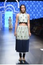 Payal Singhal Off The Runway Collection : AMAL MINT CROP TOP WITH NAVY EMBROIDERED CHURIDAAR SKIRT