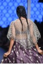 Payal Singhal Off The Runway Collection : NAEM JAALI EMBROIDERED CAPE WITH EGGPLANT BUSTIER AND LEHENGA