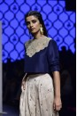 Payal Singhal Off The Runway Collection : KAINAAT NAVY YOKE CROP TOP AND EMBROIDERED BLUSH LOW CROTCH PANTS