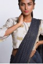 Payal Singhal Sarees Collection : GREY AND NAVY SAREE SET