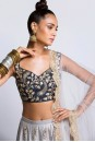 Payal Singhal Indian Wear Collection : NAVY AND GREY LEHENGA SET