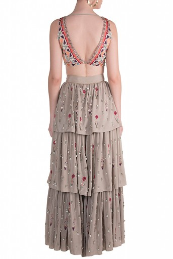 PS-FW625 Aara Grey Crepe Choli with Layered Sharara