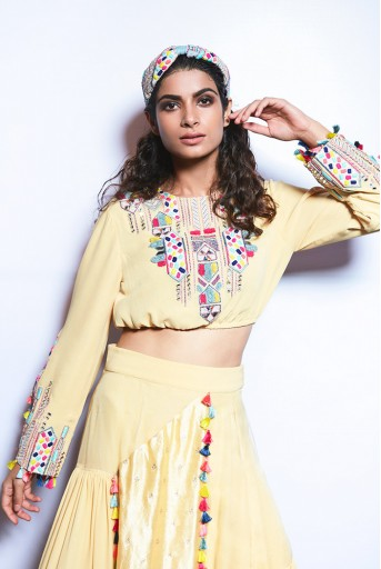 PS-FW720 Abisha Pale Yellow Crop Top with Asymmetric Skirt