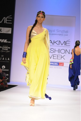 PS-FW146 Acid Yellow Georgette Asymmetric Kurta with Mukaish Dupatta