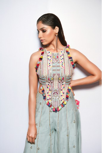 PS-FW719 Adah Pale Blue Choli with Sharara