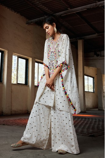 PS-FW716 Adena Off White Kaftaan with Palazzo