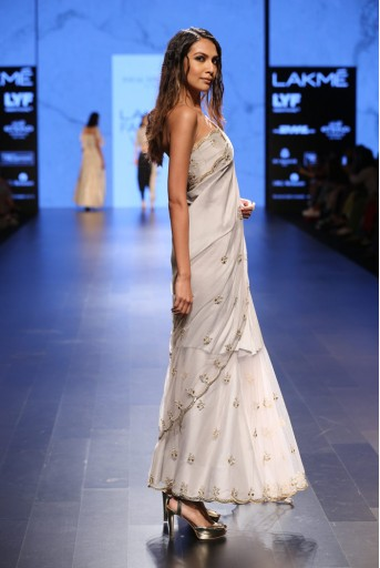 PS-FW410 Afreen Dove Grey Silk Bustier with Net and silk Saree