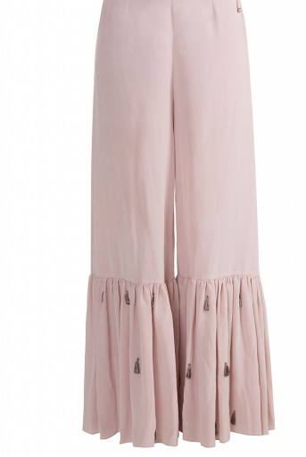 PS-FW587 Ajdah Rose pink Organza Overlay Kurta with Crepe Bustier anf Frill Palazzo