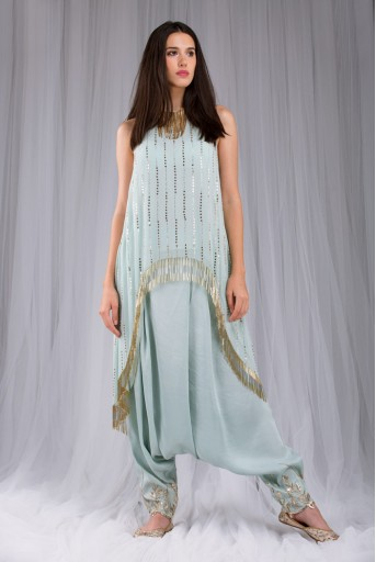 PS-FW420R Alina Powder Blue Mukaish Georgette Tunic with Silk Low Crotch Pant