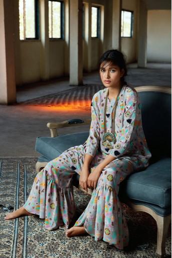 PS-FW715 Alisa Printed Kaftaan with Sharara