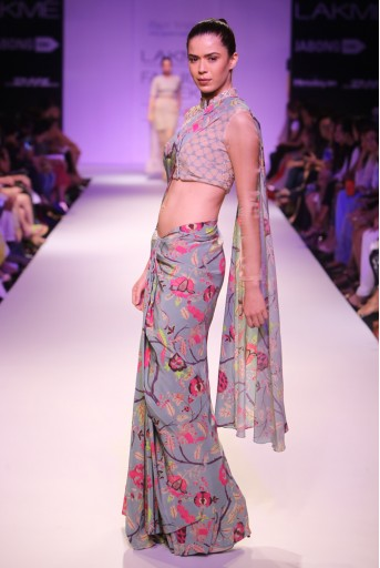 PS-FW263 Alvira Blush and Blue Printed Crepe Cropped Jacket with Chintz Print Crepe Lehenga Saree