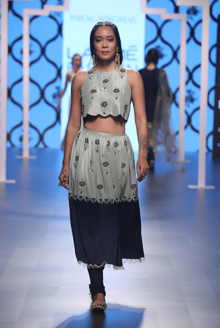 PS-FW488 Amal Mint Silk Crop Top with Navy and Mint Skirt with attached Soft Net Churidar