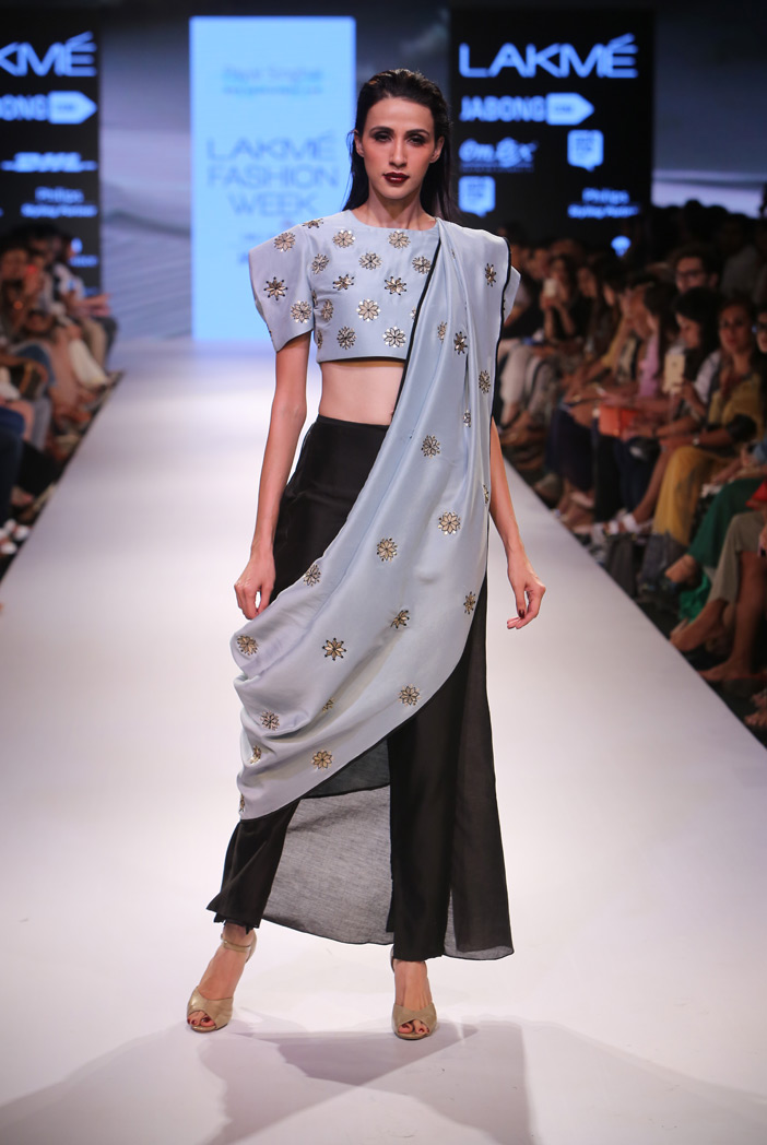 PS-FW368 Amala Powder Blue Silkmul Crop Top with Black Silkmul Churidar Skirt and Powder Blue Silkmul Attached Dupatta