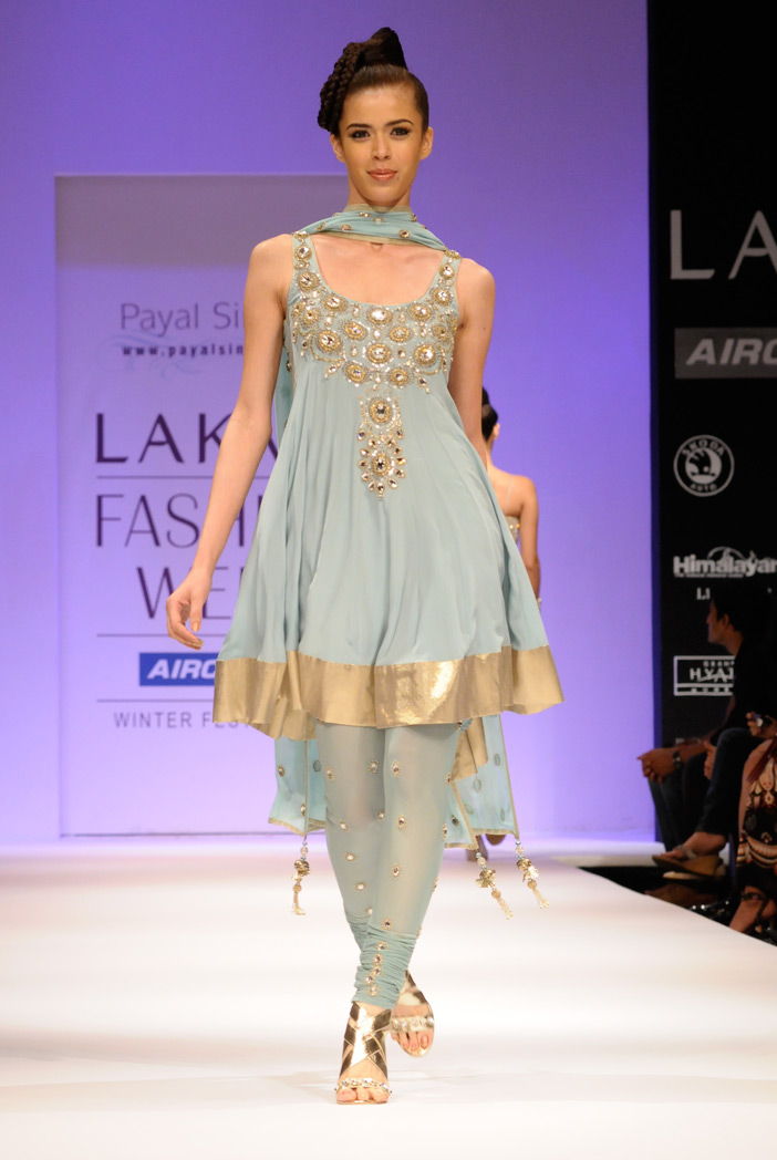 PS-FW192 Amara Powder Blue Crepe Short Anarkali with Soft Net Churidar and Georgette Dupatta