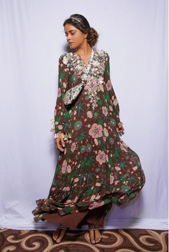 PS-DR0012 Amineh Brown Printed Georgette Tiered Dress