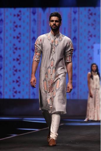PS-FW610 Amir Grey Printed Dupion Silk Kurta with Off-White Cotton Silk Churidar