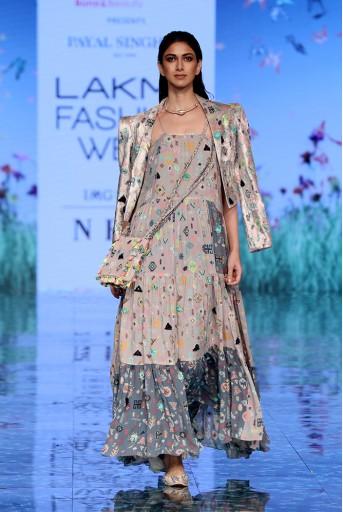 PS-FW714 Amira Lavender Printed Georgette Dress with Lavender Lime Printed Velvet Jacket