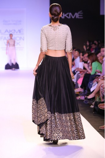 PS-FW227 Amira Stone Net Choli with Black Silkmul Lehenga