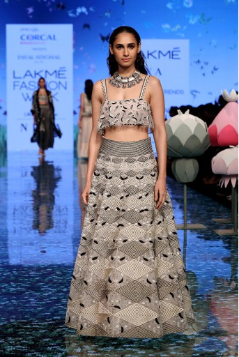 PS-FW700 Anahita Dusky Rose Organza Embroidered Choli and Lehenga