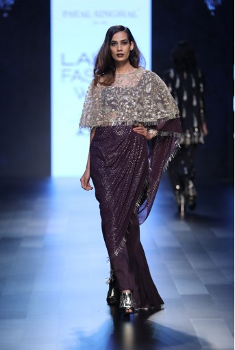 PS-FW427 Anita Purple Silk and mukaish Georgette Saree with Silk Bustier and Stone Net Cape