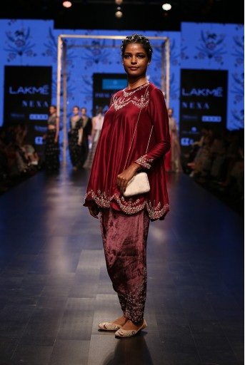 PS-FW579 Anora Cranberry Silkmul Short Anarkali with Purple Velvet Low Crotch Pant and Cranberry Chanderi Stripe Dupatta
