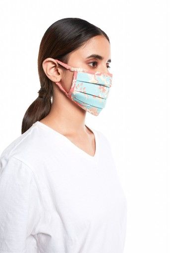 PS-MS0068  Aqua and Coral Chidiya Print Pleated 3 Ply Mask with Pouch