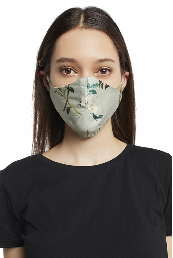 PS-MS0007 Aqua and Ivory Titli Print Reversible 3 Ply Mask with Pouch