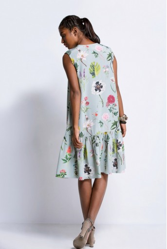 PS-TU0681 Aqua Printed Crepe Frill Dress