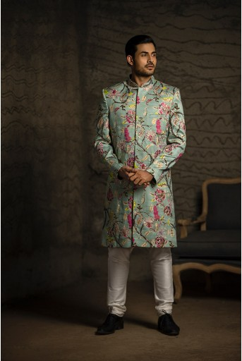 PS-MN085 Aqua Printed Dupion Silk Sherwani with Off White Cotton Silk Churidar