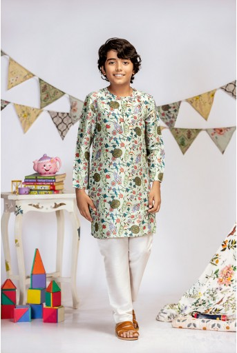 PS-KB0004 Aqua Printed Silk Kurta with Off white Cotton Silk Churidar
