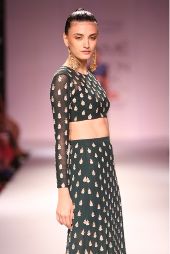 PS-FW276 Ara Emerald Green Soft Net Choli and Fitted Skirt