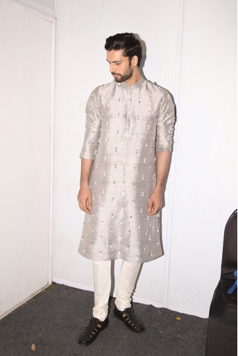 PS-FW601 Arsalan Grey Dupion Silk Kurta with Off-white Cotton Silk churidar