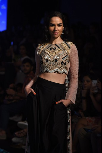 PS-FW691 Arsia Blush Crepe with Chanderi Cropped Anarkali and Black Lycra Low Crotch Pant