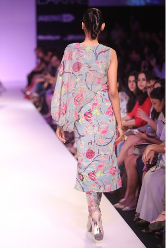 PS-FW265 Arya Chintz Print Kurta with One Side Drape Sleeve and Silkmul Churidar