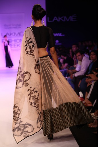 PS-FW200 Asiya Black Silkmul Choli with Blush net Half skirt and Pant with Dupatta