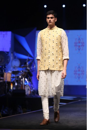 PS-FW602 Aslan Cream Organza Kurta with Pale Yellow Dupion Silk Bandi and off-White Cotton Silk Churidar