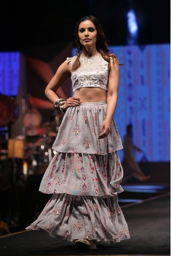 PS-FW613 Atoosa Grey Velvet Choli with Grey Printed Georgette Layered Sharara