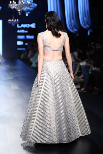 PS-FW443 Ava Grey Silk Choli with Net and Brocade Lehenga