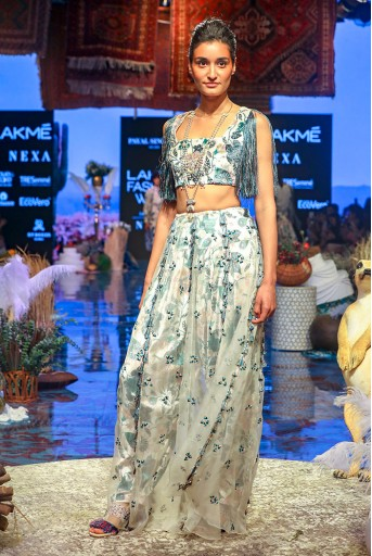 PS-FW630 Ayat White Printed Velvet Back Tie-up Choli and Salwar with attached Organza Skirt