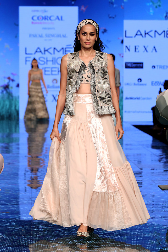 PS-FW699 Ayda Stone Organza Embroidered Jacket with Georgette embroidered bustier and Asymmetric lehenga
