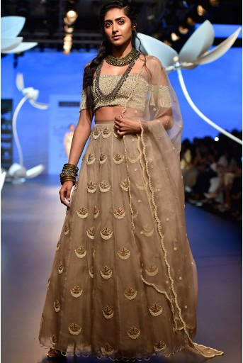 PS-FW525 Aynur Grey Organza Choli with  Lehenga and Dupatta