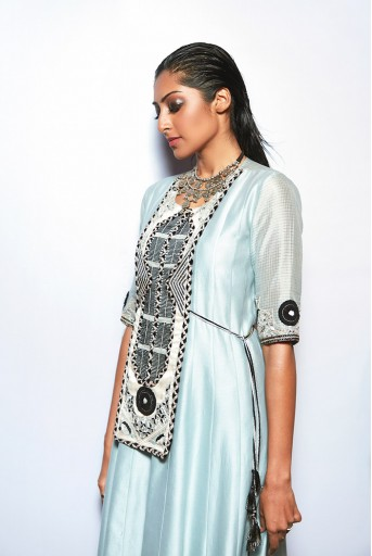 PS-FW698 Azara Pale Blue Silkmul Yoke Embroidered High Low Kurta with Black Chanderi Stripe Jogger Pant