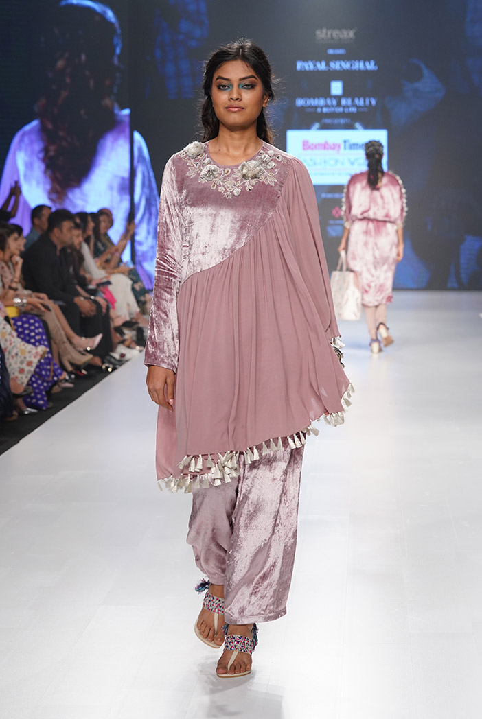 PS-KP0012 Azita Rose Pink Velvet and Georgette Assymetric Kurta with Velvet Bustier and Salwar